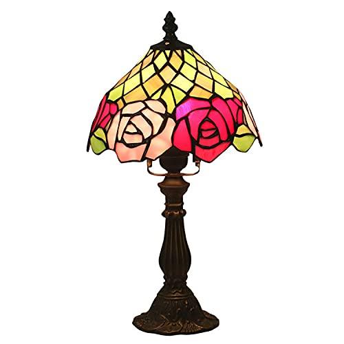 Lámpara De Mesa Estilo Tiffany, Lámpara Decorativa De 20CM Con Pantalla De Vitral Y Base De Aleación De Zinc, Utilizada En La Barra De Noche De La Sala, El Comedor Y El Dormitorio.
