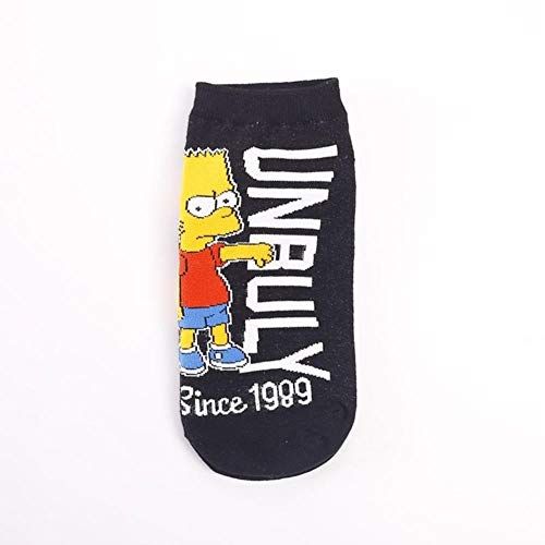 WEIZI Lustige Frauen Boot Simpson Socken Cartoon Mehrfarbige Cartoon Knöchel Socken Gelbe Paare Mode Frau Socke Unisex, Lc0191,35-43