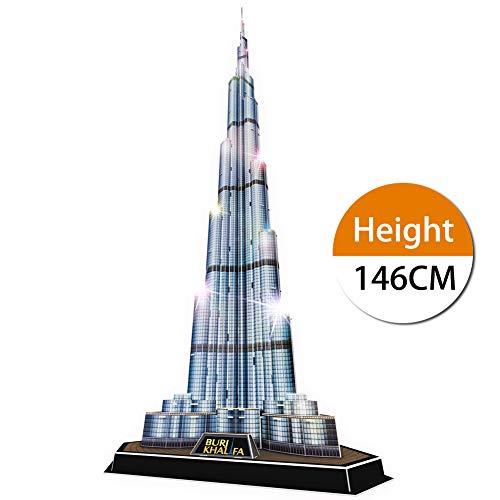 CubicFun 3D Puzzle Leuchtend Dubai Burj Khalifa mit LED Architektur Geschenk für Kinder und Erwachsene, Geschenk für Männer und Frauen 136 Stück