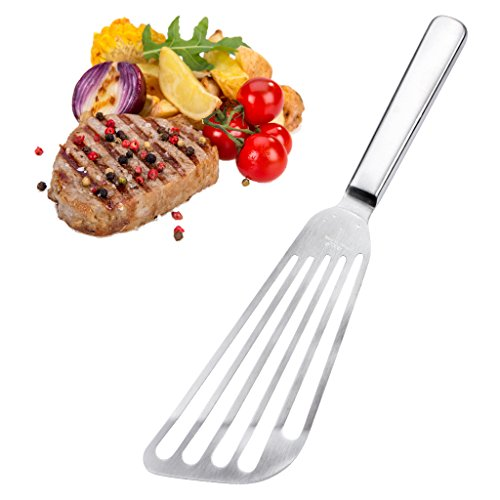 "ETGtek Fish Spatula 7.5"" Stainless Steel Slotted Turner Blade,Thin-Edged Design Ideal for Flipping to Enhance The Ability of Baking & Frying,Flexible Slotted Kitchen Spatula"