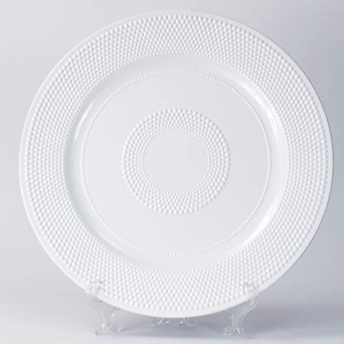 12 Sottopiatti Bianco Natale Colore Bianco in plastica Rigida Tondo diam. 33 cm Bordo Liscio cenone sotto Piatto Giardino Picnic Capodanno Cena