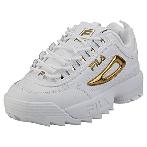 Fila Disruptor II Metallic Accent Mujer Blanco/Dorado Zapatillas