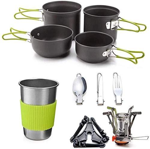 1yess - Juego de estufa de camping y exterior Cookware con ollas, portátil, plegable, para cocinar al aire libre