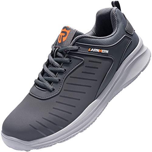 LARNMERN Zapatos Seguridad con Punta de Acero para Hombre Mujer Zapatillas Seguridad Ligeras (40 Gris)