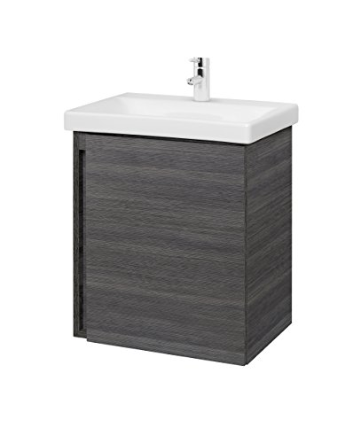 Planetmöbel Waschtischunterschrank Keramikwaschbecken Badmöbel Set 50cm (Anthrazit)