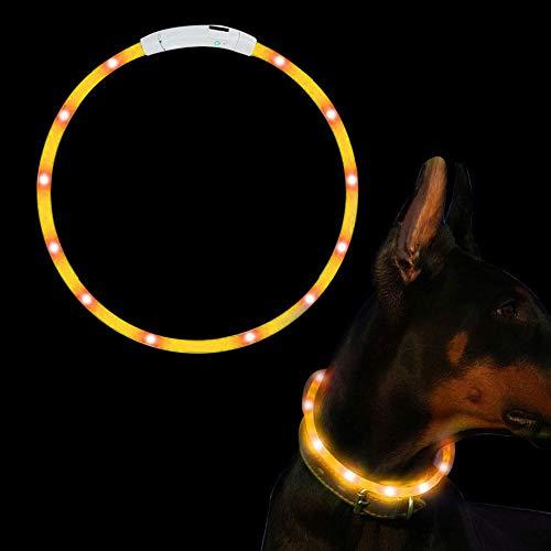 SaponinTree LED Collar de Perro de Mascota, Collar de Perro de Seguridad LED Intermitente con USB Batería, 3 Modos de LED Perro Collar Brillantes y Longitud Ajustable para Perros, 75CM (Orange)