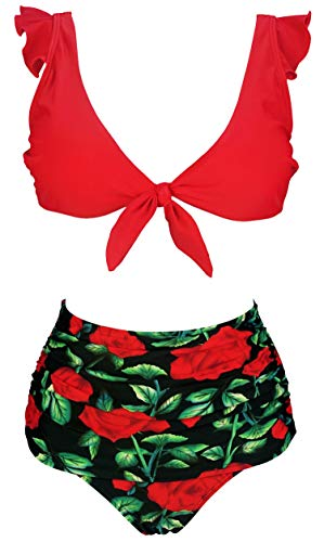 COCOSHIP Red & Rose Floral Bloom Retro High Waisted Shirred Bikini Set Tie Front Closure Top Ruffle Straps Bathing Swimsuit 4