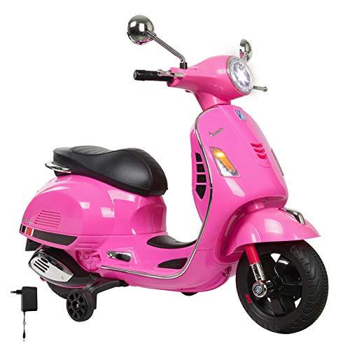 Jamara 460349 - Ride-on Vespa roze 12 V - krachtige aandrijfmotor en accu voor lange rijtijd, SD-kaartsleuf, AUX- en USB-aansluiting, rubberen ring op de wiel, steunwielen, LED-koplamp