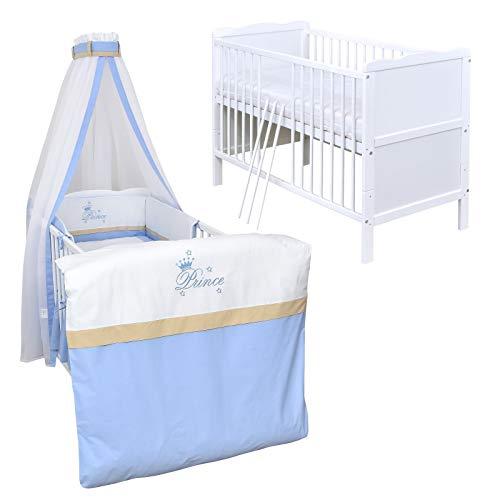 Baby Delux Babybett Komplettbett Kinderbett umbaubar zum Juniorbett weiß 140x70 Bettset Matratze in vielen Designs (Prince)