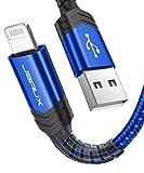JSAUX Chargeur Iphone 3M [Certifié MFi C89] Durable Cable Iphone Lightning en Nylon Ultra...