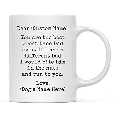 Andaz Press Personalized Funny Dog Dad 11oz. Coffee Mug Gag Gift, Best Great Dane Dog Dad, Bite in Nuts and Run to You, 1-Pack, Custom Dog Lover's Christmas Birthday Ideas, Includes Gift Box