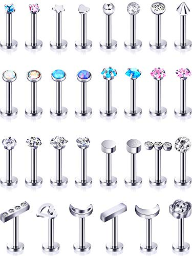 Stainless Steel Lip Studs Labret Lip Rings Cartilage Tragus Piercing Jewelry for Women Party Wear or Clothes Matching 16 G, 30 Pieces (Silver)