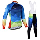 ZHJC Herren Winter Thermal Cycling Jersey Lange Jacke Winter Radfahren Wear Plus Samt Langarm...