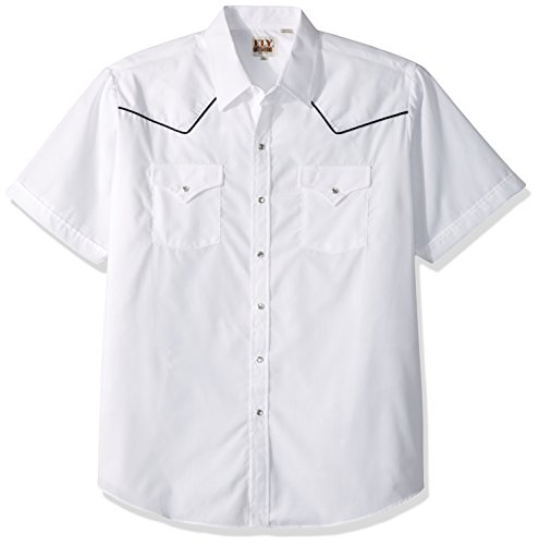 콘트라스트 파이프를 단 엘리 캐틀맨 남성의 짧은 소매 솔리드 웨스턴 셔츠