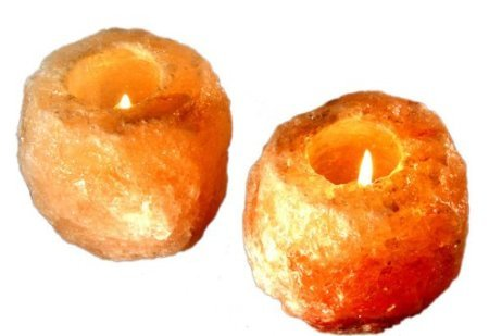Amazing Health Wellness Natural Himalayan Salt Tealight Holders Chunky (2)