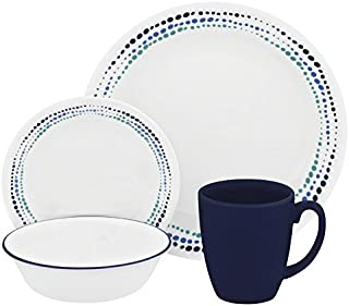 Corelle Livingware 16-Piece Dinnerware Set, Ocean Blues, Service for 4 (1119404)