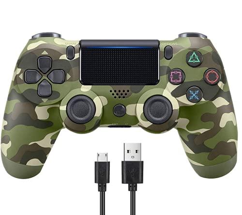 Controlador inalámbrico para PS4/Pro/Slim/PC, 800 mAh, recargable, con doble vibración, mando para juegos, auriculares, sensor de seis ejes y PS4 inalámbrico (camuflaje)