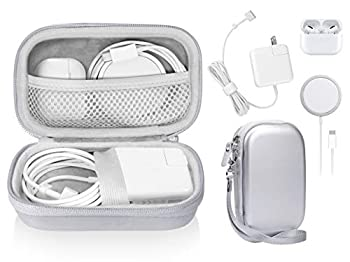 Case for MacBook Pro Air Power Adapter MagSafe MagSafe2 iPhone 12/12 Pro MagSafe Charger USB C Hub Type C Hub USB Multi Ports Type c hub Detachable Wrist Strap mesh Pocket  Space Silver