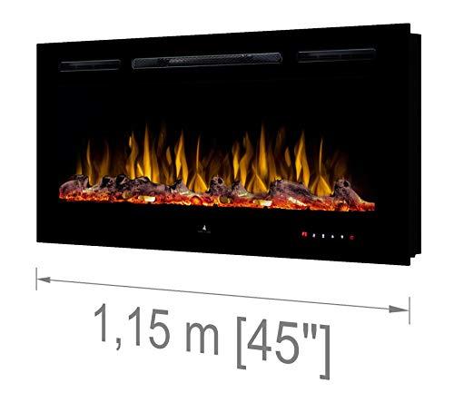 "Noble Flame Paris Schwarz 1150 (115 cm / 45"") - Elektrokamin Wandkamin Kaminofen Kamin - Wandmontage Fernbedienung - 14,5 cm Einbautiefe"