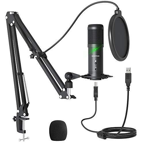 USB Podcast Mikrofon, SUDOTACK Professional ST900 Streaming Mikrofon 192KHz /24Bit Studio Nieren Kondensator Mikrofon Kit mit Boom Arm, Pop-Filter, Shock Mount für Skype YouTuber Gaming Home Aufnahme