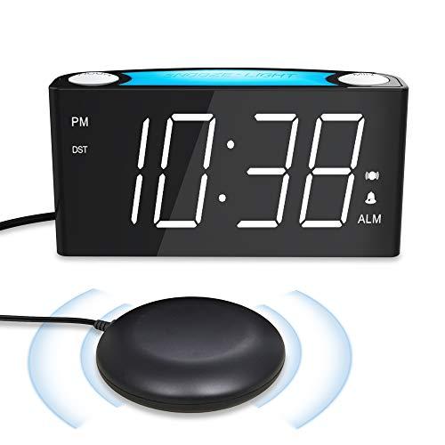 ROCAM Reloj Despertador Vibrador para Sordos, Pantalla LED Grande con Atenuador, Luz de 7 Colores, Puertos de Carga USB Dobles para Personas con Sueño Pesado, Mayores - Blanco
