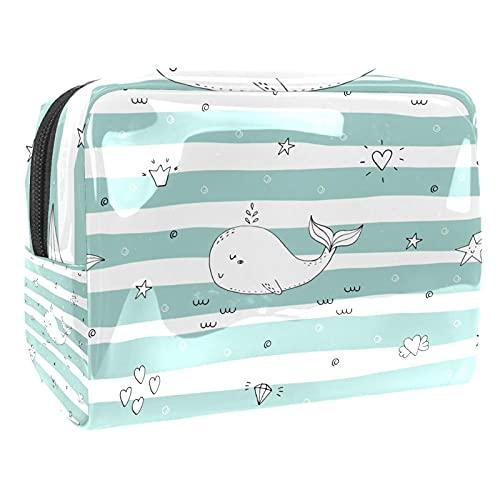 Bolso cosmético de PVC con diseño de delfín azul, con diseño de estrella amarilla, bolsa de viaje para cosméticos y cosméticos, Dolphin Diamond Star Green White Stripe, 18.5x7.5x13cm/7.3x3x5.1in,
