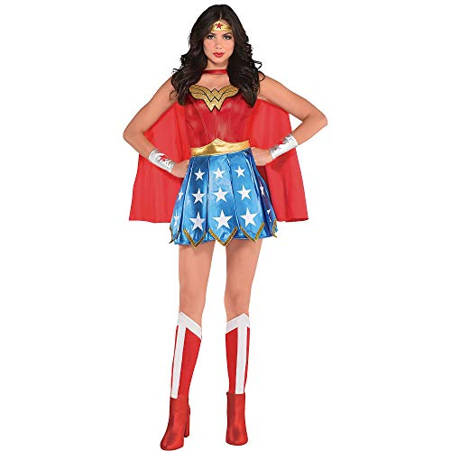 Costumes USA Wonder Woman Costume for Adults, Size Extra-Large (14-16), Includes Dress, Headband, Gauntlets and More