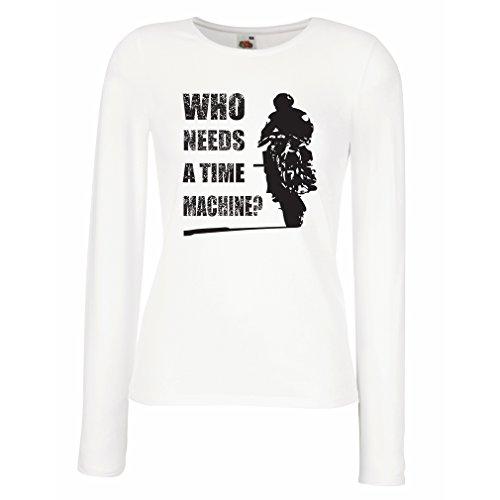 Maniche Lunghe Femminili T-Shirt Abbigliamento Moto (Medium Bianco Multicolore)
