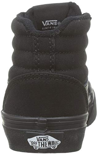 Vans Ward Hi Canvas Sneaker Bambino, Nero ((Canvas) Black/Black 186), 33/34 EU