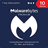 Malwarebytes Premium 4.0 Latest Version | 12 Months, 10 Devices (PC, Mac, Android) [software_key_card]…
