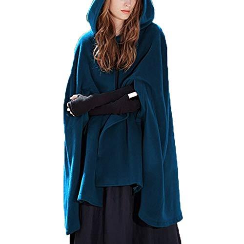 Elegante Frauen Herbst Winter Umhang mit Kapuze Loose Cape Kurz Poncho Warme Trenchcoat Wolle Mantel Jacke Gotisch Outwear (Blau, XL)