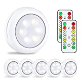 Alitade Wireless LED Puck Light With Remote Control,Under Cabinet Lighting,LED Closet Light,Battery Powered Night Lights,Stick On Light Under Counter Lighting Control Dimmer & Timing Function (6 Pack)