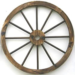 A wooden wagon wheel for wall decor