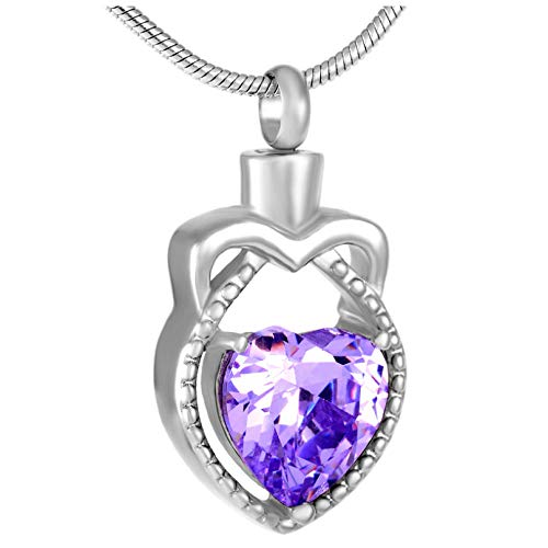 Ashes Cremation Necklace Hold Heart Shape Purple/Pink Crystal Teardrop Cremation Necklace Jewelry Ashes Holder For Women