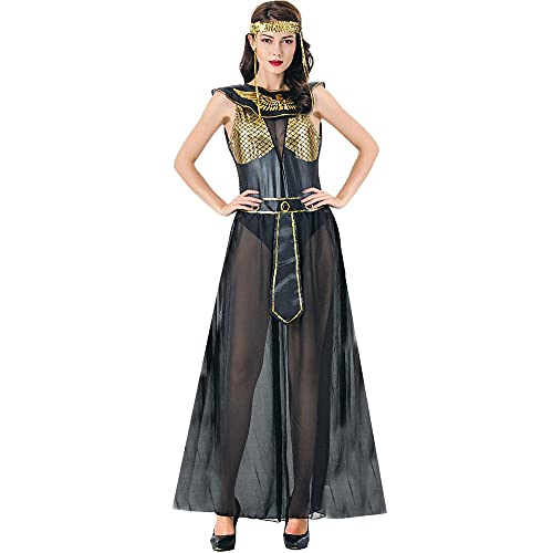 Disfraz de reina egipcia para adultos, disfraz de Egipto, Cleopatra, Halloween, carnaval, cosplay, fiesta, disfraz, color negro