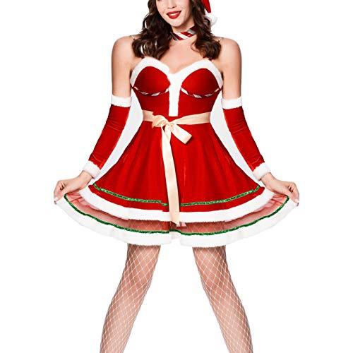 QINQI Disfraz De Navidad Sexy para Mujer, Disfraz De Cosplay para El Escenario, Disfraz De Navidad (Sombrero De Navidad + Falda De Navidad + Mangas De Mano)