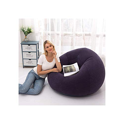 BANGSUN Aufblasbarer Stuhl, Sofa, aufblasbarer Sitz, Gaming-Liege, für drinnen und draußen, Camping, Plüschstoff, blau