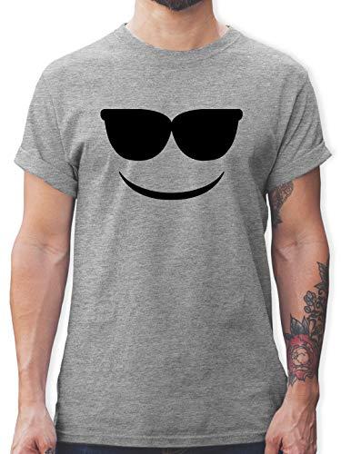 Karneval & Fasching - Sonnenbrillen Emoticon Karneval - S - Grau meliert - Tshirt lustig Herren - L190 - Tshirt Herren und Männer T-Shirts