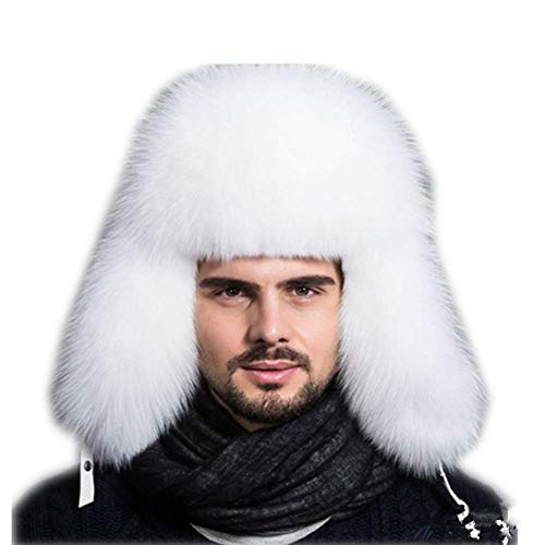 Gegefur Mens Winter Hat Real Fox Fur Genuine Leather Russian Ushanka Hats (White)