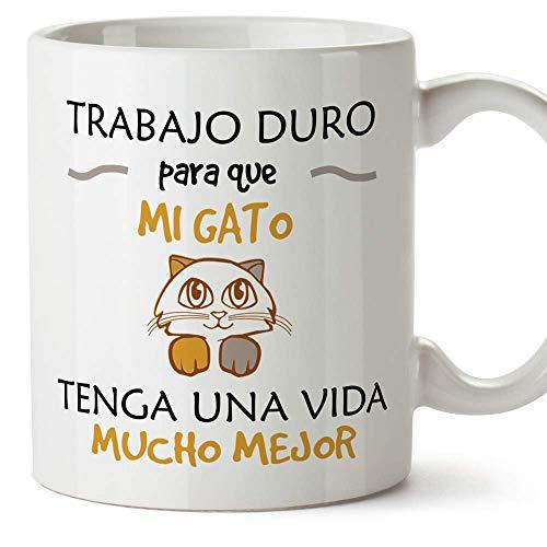 MUGFFINS Taza Gato (Gatito Vida Mejor() - Regalos Originales y Divertidos para...