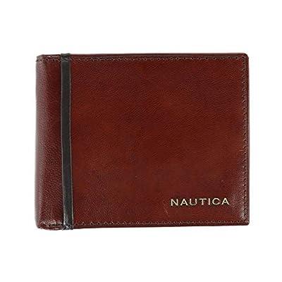 Nautica Men's Leather Harper Bifold Wallet with Flip Up Passcase, Tan