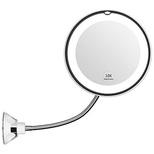 NEWKIBOU Cuello de cisne flexible 6.8 '10x Lupa LED iluminado para maquillaje, Espejo de maquillaje para baño con ventosa, Giratorio de 360 grados, Luz natural, Funciona con pilas, inalámbrico y espejo de viaje