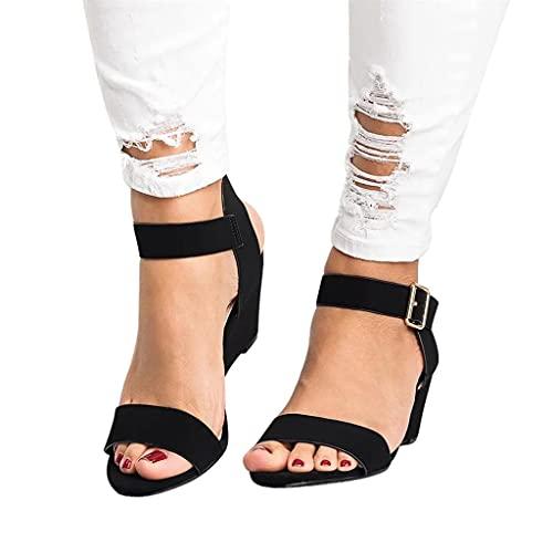 Aunimeifly Wedge Sandals for Women Espadrille Ankle Strap Open Toe Platform Sandals Summer Beach Roman High Heel Sandals