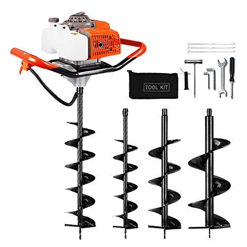 "ECO LLC 63CC Industrial Electric Post Hole Digger Fence Plant Soil Dig Powerhead include 6""8"" 12"" Digging Auger Bit Kit"