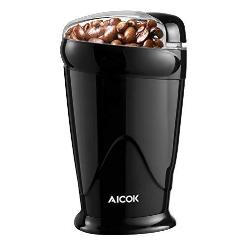 Kaffeemühle Elektrisch 60g 150 W Aicok, Kaffeemühle für Kaffeebohnen, Nuß und Gewürz, Schlagmesser, Schwarz