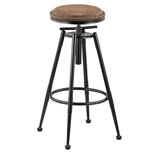 Silla de bar industrial, taburete de bar con reposapiés, taburete de barra de bar de desayuno de cocina, asiento redondo de piel sintética, patas de metal negro, altura ajustable 68-90cm