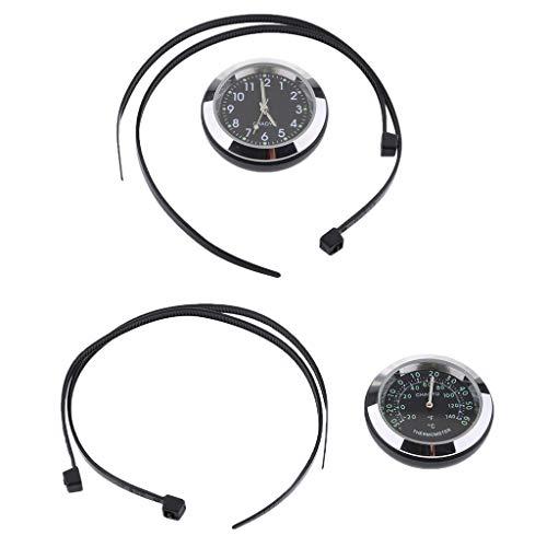 Homyl Montre Moto Cadran Vélo Horloge + Thermomètre Jauge