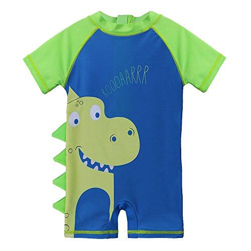 HUAANIUE Kinder Baby Bademode Einteiliger Badeanzug UV-Schutz-Badebekleidung~Grüner Dinosaurier~1-2Y(Tag No.2A)