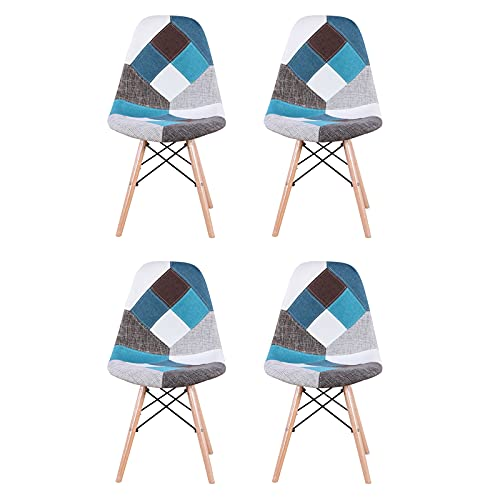 Doo Navy Chairs, Metal Chairs, Restaurant/Beach Chairs, Living Room Chairs/Dining Chairs/Desk Chairs/Office Chairs/Leisure Chairs/Natural Beech Chairs with ABS backrest, a Set of 4, Blue