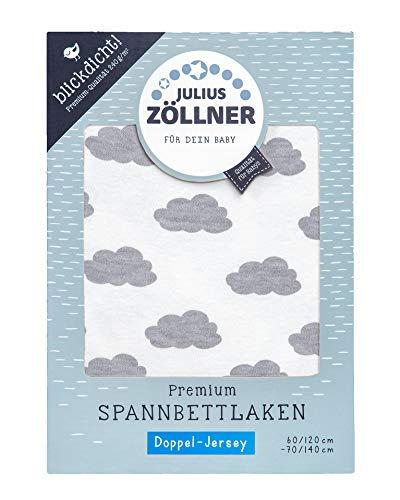 Julius Zöllner 8357158002 Drap-housse Premium en jersey opaque, convient pour lits d'enfant 60 x 120 et 70 x 140 cm Gris